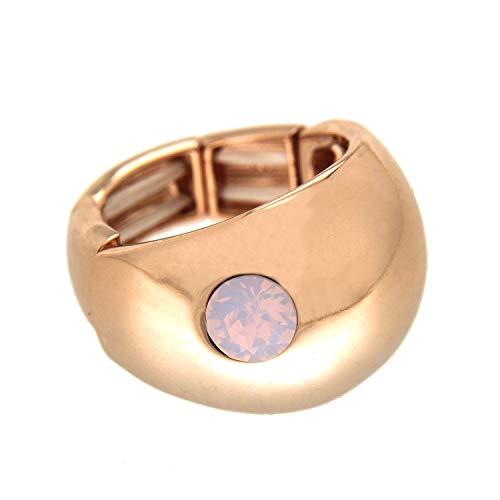 Opal Ring Kostüm - Sweet Deluxe Stretchring Tila, Rosegold/Rose Opal I Damen-Ring I Mode-Schmuck Ring für Frauen I Ringe Rings für Mädchen I modisches Design-Accessoires