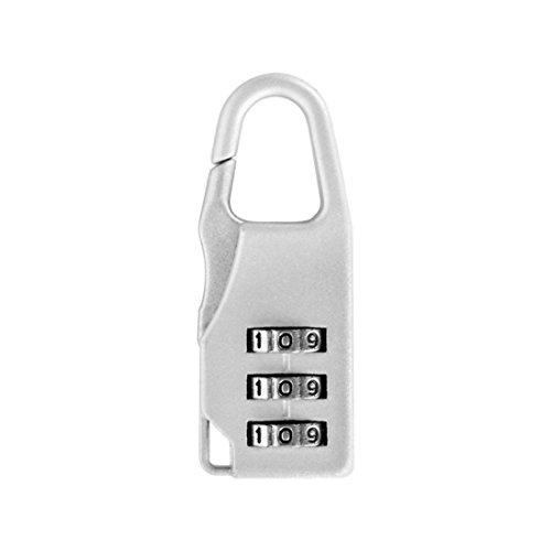 Prevently Kofferschloss Zahlenschloss Vorhängeschloss Mini Passwortsperre für Koffer Toolbox Golf Bag Tackle Box Schlüsselanhänger Passwort Vorhängeschloss Mini Passwortsperre Gepäckschloss (Silber)
