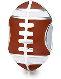American Football Sport Collection - Abalorio de plata de ley 925, diseño de balón de