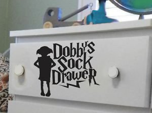 Harry Potter Dobbys Sock Drawer Decal Sticker 10cm black x1