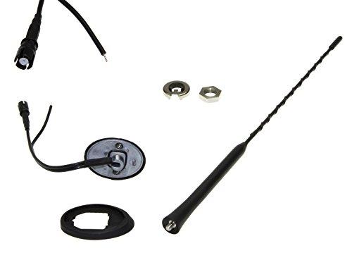 Adapter-Universe Stabantenne RAKU 2 II 40cm mit Verstärker, Phantomspeisung + Antennenfuß Sockel M5 für Saab Schwarz - Auto Dach Radio - Mercedes Benz Verstärker