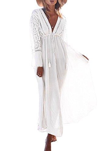 Minetom Copricostume da Bagno Donna Bandage Cardigan Lungo Vestito Bikini Camicia di copertura Abito da Spiaggia Mare Beachwear Allentato Costume da Bagno Copri Bianco Taglia Unica (IT 38-48)