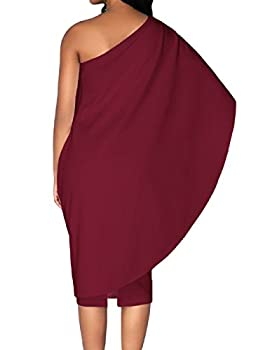 Lrud Ladies Off Shoulder Ruffles Batwing Cape Party Bodycon Midi Pencil Dresses 1