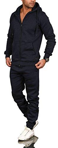 A. Salvarini Herren Jogging Anzug Trainingsanzug Sportanzug Sweatshirt AS071 [AS-071-Navy-Gr.M] (Herren-designer Anzüge)
