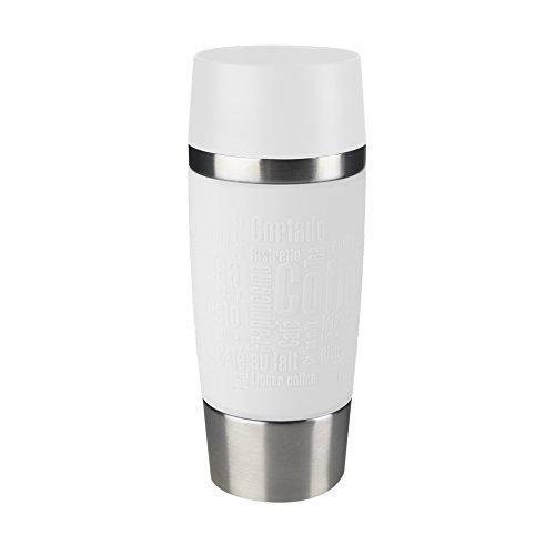 Emsa 515108 Travel Mug Standard, Thermobecher, mobiler Kaffeebecher, 360 ml, Eis-Kaffee, Isolierbecher, Eistee, Quick Press Verschluss, weiß (Edelstahl Isolier-becher)