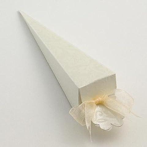 100x Marfil Diamante conetti Cono boda cajas de regalo