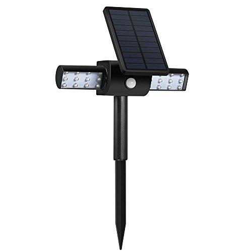 Luci Solari per Giardino GrandBeing® Lampada Luci per Esterno Solari Illuminazione Giardino Solare Impermeabile Ruotabile con Modalità Il Controllo Della Luce o Sensore Movimento,Ricarica Tramite Cavo USB per Il Pannello Solare,IP64,24 LEDs,200LM-TD614 (1)