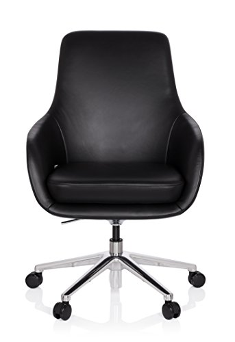 Gepolsterte Leder-club Sessel (hjh OFFICE 600980 Lounge Sessel BARENO Echt Leder Schwarz hochwertiger Drehsessel bequem gepolstert)