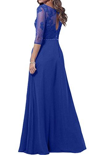Sunvary Elegant Rund Spitze Abendkleider Lang Chiffon Mutterkleider Ballkleider mit Arm Bildfarbe