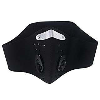 LIOOBO Haze Mask Activated Carbon Face Masks Dustproof PM2.5 Breathable Mouth Cover with Valve (Black)