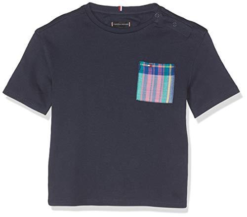 Tommy Hilfiger Baby-Jungen Fashion Madras Pocket S/S T-Shirt Blau (Black Iris 002), Herstellergröße: 86 Black Madras