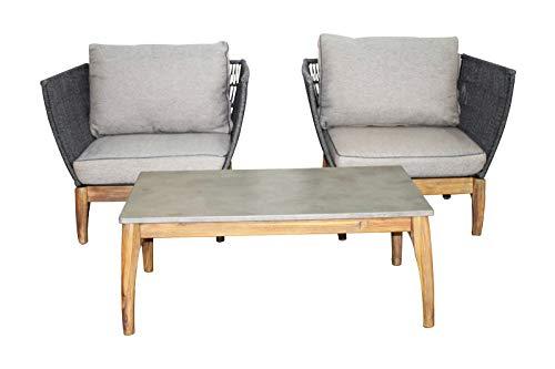 Jet-Line Gartenmöbel Set Puerto Rico Grau EIN Tisch und Zwei Sessel Terrasse Garten Balkon Möbel...