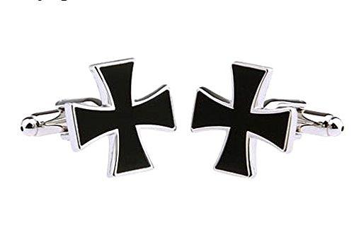 Bouton de manchette croix chopper noire