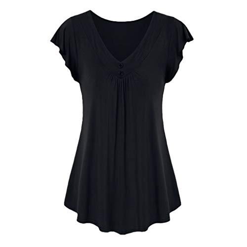 LOPILY Sommer T-Shirt Kurzarmshirt Damen Elegante Übergröße Kurzarm Gekräuselte Geraffte Shirts Blusen Tops Sommer Lässige Unregelmäßiger Saum Falten Bluse Oberteil(Schwarz,XL)