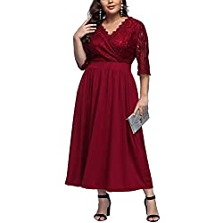 FeelinGirl Women's Plus Size Evening Dresses V Neck Half Sleeves High Waist A Line Party Dress (Lace-red, UK 22-24 3XL)