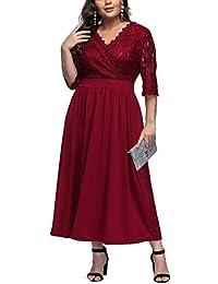 FeelinGirl Women's Plus Size Evening Dresses V Neck Half Sleeves High Waist A Line Party Dress