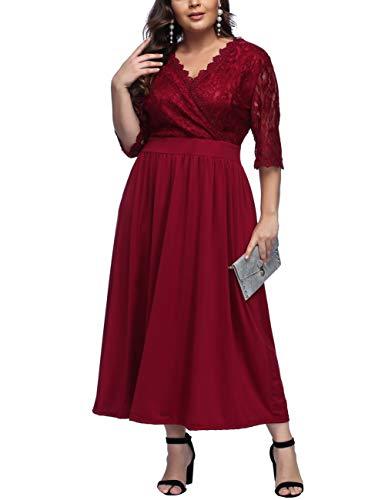 FeelinGirl Damen Plus Size Große Größen Elegantes Langes Spitzenkleid Cocktailkleid Abendkleid Hochzeit Brautkleid mit kurz Ärmel O-Ausschnitt Blumensptizen (Weinrot lace, XXL (EU 58-60))