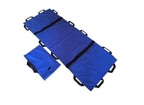 Medizinische Bahre (JHKGY Tragbare Transporteinheit Für Den Notfall-EMS-Patientenbeweger, Medizinischer Bahren-Patientenheber-Transferbrett, Das Weichen Bahre Faltet, Rollen-Bahre-Blau 12 Griffe-Oxford-Leder,Blue)