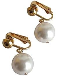Gemshine - Damen - Ohrringe - Ohrclips - Vergoldet - Perlen - Edel Weiss - 2 cm