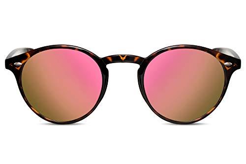 Cheapass Sonnenbrille Verspiegelt Pink UV-400 Hipster Designer-Brille Plastik Damen Herren -