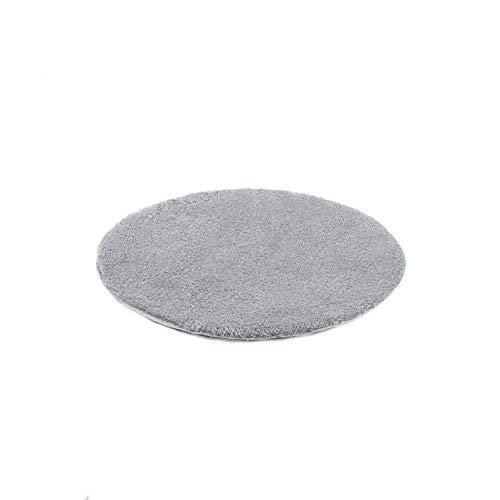 etérea Microfaser Hochflor Badteppich Badvorleger - Badematte Jana - Uni Silber Grau - 60 cm Rund