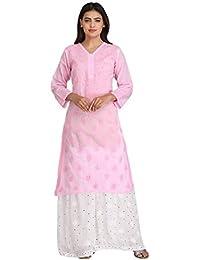 ADA Hand Embroidered Lucknow Chikan Regular Wear Cotton Kurta Kurti A224099