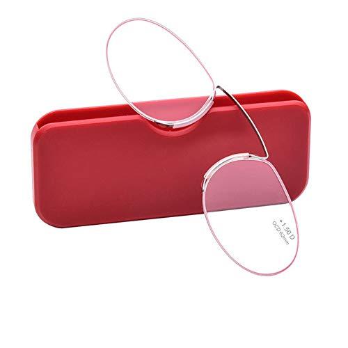 YUNCAT Lesebrille Pince Nez Bügelloser Nasen-Zwicker/Kneifer vom Optiker für Frauen und Männer Oval 3 Farben 6 Dioptrien