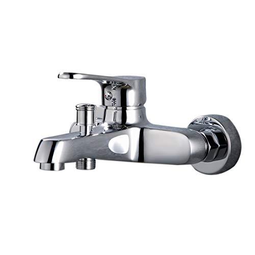 thinkels-tech Bad Dusche Classic Single Griff Waschbecken Armatur Wasserhähne kalt-& Warmwasser 2Ausgänge Badezimmer Hebel Wasserhahn, Chrom