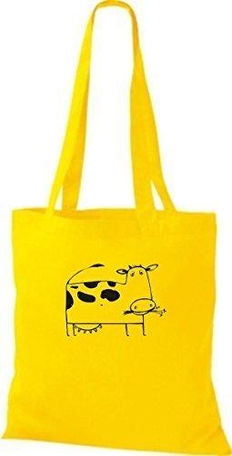 ShirtInStyle Stoffbeutel Baumwolltasche Lustige Tiere Kuh Bulle Farbe Limegrren gelb