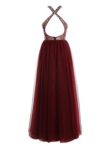 Bbonlinedress Robe de cérémonie Robe de bal en tulle emperlée col montant longueur ras du sol Champagne