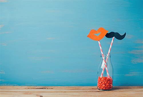 Cassisy 1,5x1m Vinyl Valentine Fotohintergrund Romantisch Flasche Strows Schnurrbart aus Papier Lippen Blaue Wand Fotoleinwand Hintergrund für Fotostudio Requisiten Party Liebhaber Photo Booth