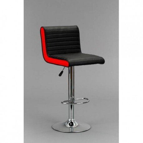 DP Grifería 16050+ 16001-Hocker mit Basis in Chrom und Sitzwürfel, rot/schwarz (Leder) -