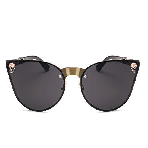 Yangjing-hl Sonnenbrille Mode Spiegel heiße Blume Beine, Schädel Brille weiblichen silbernen Rahmen weiß Quecksilber