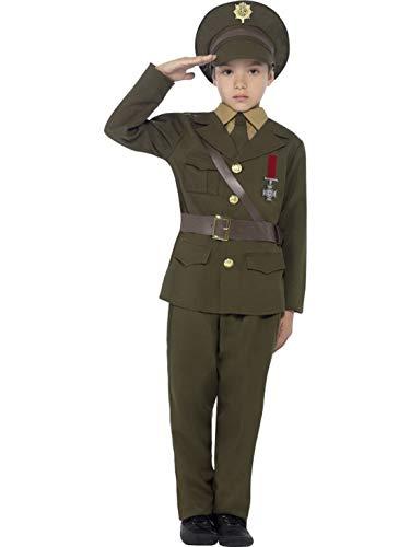 Kostüm Militär General - Fancy Ole - Jungen Boy Kinder Armee Militär Offizier Army General Kostüm mit Jacke, Hose, Mütze, Gürtel und vorgetäuschtem Hemd, perfekt für Karneval, Fasching und Fastnacht, 122-134, Grün