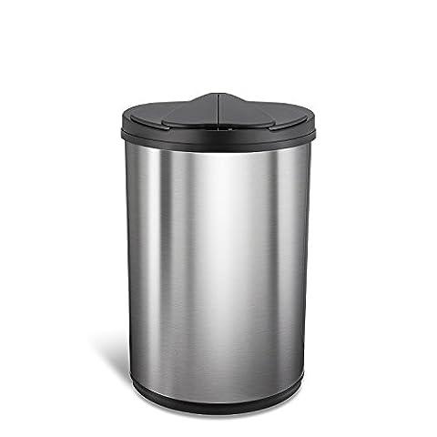 Nine Stars 12.4 gallon / 47 L, Silver black, Stainless steel, Motion Sensor Trash Can