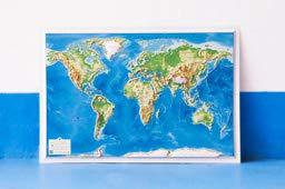 Mapa en relieve Mapamundi: Escala 1:67.000.000