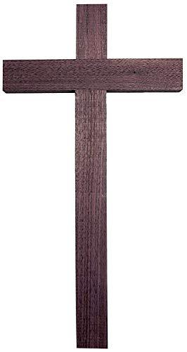 schenkidee - 50 cm Wandkreuz Echt Nussbaum Holz Kreuz Kruzifix für die Wand schlicht klassisch ()