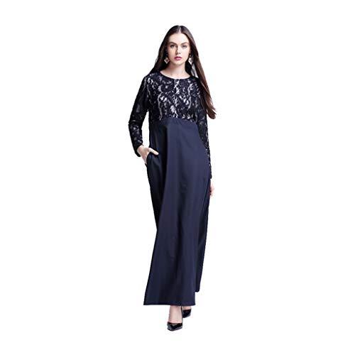 PorLous Muslim Langer Rock, Frau Kleiden Moslemischer Loser Normallack Kleidungs Kleid Der Frauen Abaya Islamischer Arabischer Kaftan Drucken Stickerei Lose Robe