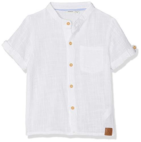NAME IT Baby-Jungen NMMHANS SS SHIRT Hemd, Weiß (Bright White), (Herstellergröße: 98)