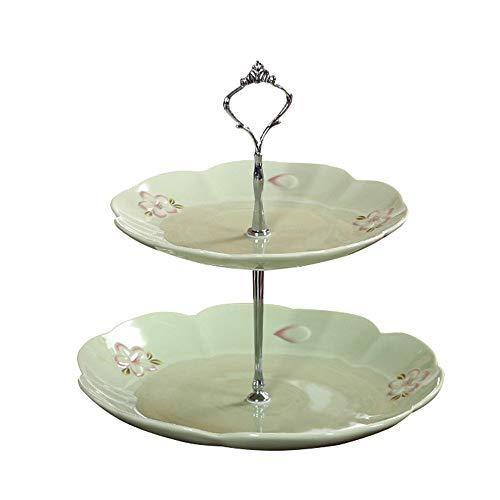 DNCST 2 Tier Keramik Kuchen Stehen Hochzeit Obstteller Keramik Cupcake Für Kuchen Desserts Obst Süßigkeiten Buffet Stehen Für Hochzeit & Home & Birthday Party Serviertablett für Partys