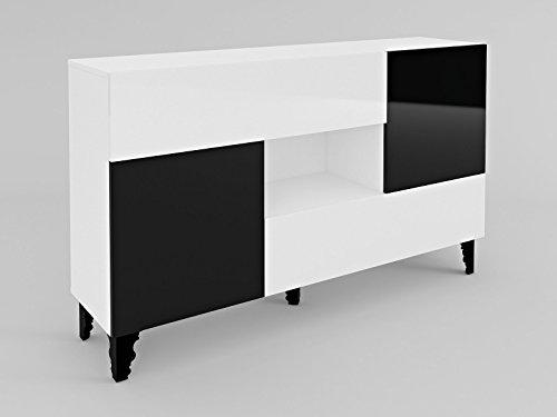 alfa-commode-buffet-dressoir-le-corps-blanc-mat-le-front-blanc-haute-brillance-noir-haute-brillancew