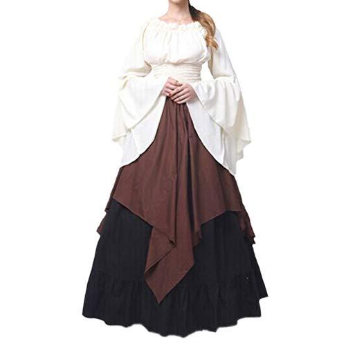 Damen Mittelalter Langarm Kleid - Retro Renaissance Viktorianisch Kostüm Langes Kleider mit Ausgestellte Ärmel für Halloween Party Cosplay (Halloween Kostüme Deluxe Uk)