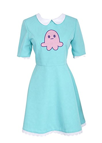 Cosplayfly Star vs. The Forces of Evil Magic Prinzessin Star Butterfly Dress Kleid Cosplay Kostüm mit Gelbe Sterntasche Damen Blau S (Prinzessin Star Butterfly Kostüm)