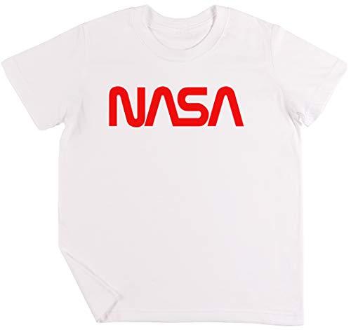 NASA Logo Niños Chicos Chicas Unisexo Camiseta Blanco