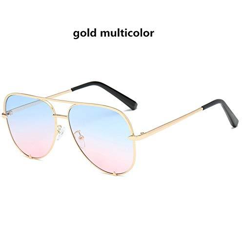 LAOGUAISHOU Mode Sexy Frauen Große Runde Metall-Sonnenbrille Mit Farbverlauf Männer Schwarze Brille Rahmen Retro-Spiegel Sonnenbrille UV400 (Lens Height : 57mm, Lens Width : 60mm-Multi)
