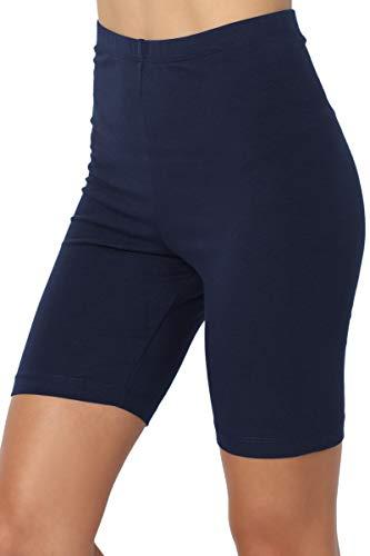 TheMogan Active Bermuda-Leggings, mittlere Oberschenkel, Stretch-Baumwolle, hohe Taille - Blau - Klein -