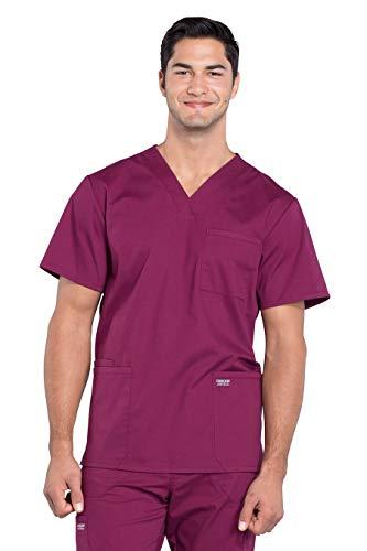 Cherokee Workwear Professionals Herren Scrub Top mit V-Ausschnitt - Rot - X-Klein (Herren Top-wein Scrub)