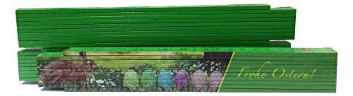 Gliedermaßstab 2 m eiseitig bedruckt mit vierfarbigem Motiv - Ostern - auf Grün -