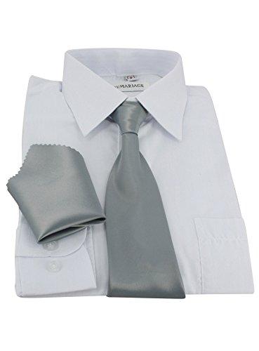 Cravate enfant élastique + pochette 3 tailles au choix bébé, enfant ou ado Gris
