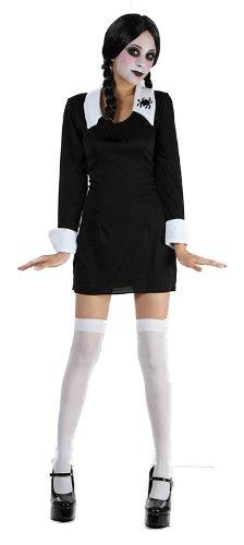 Creepy School Girl + Black Wig + Stockings Ladies Halloween Fancy Dress Costume (Women: One Size) by Bristol Novelties